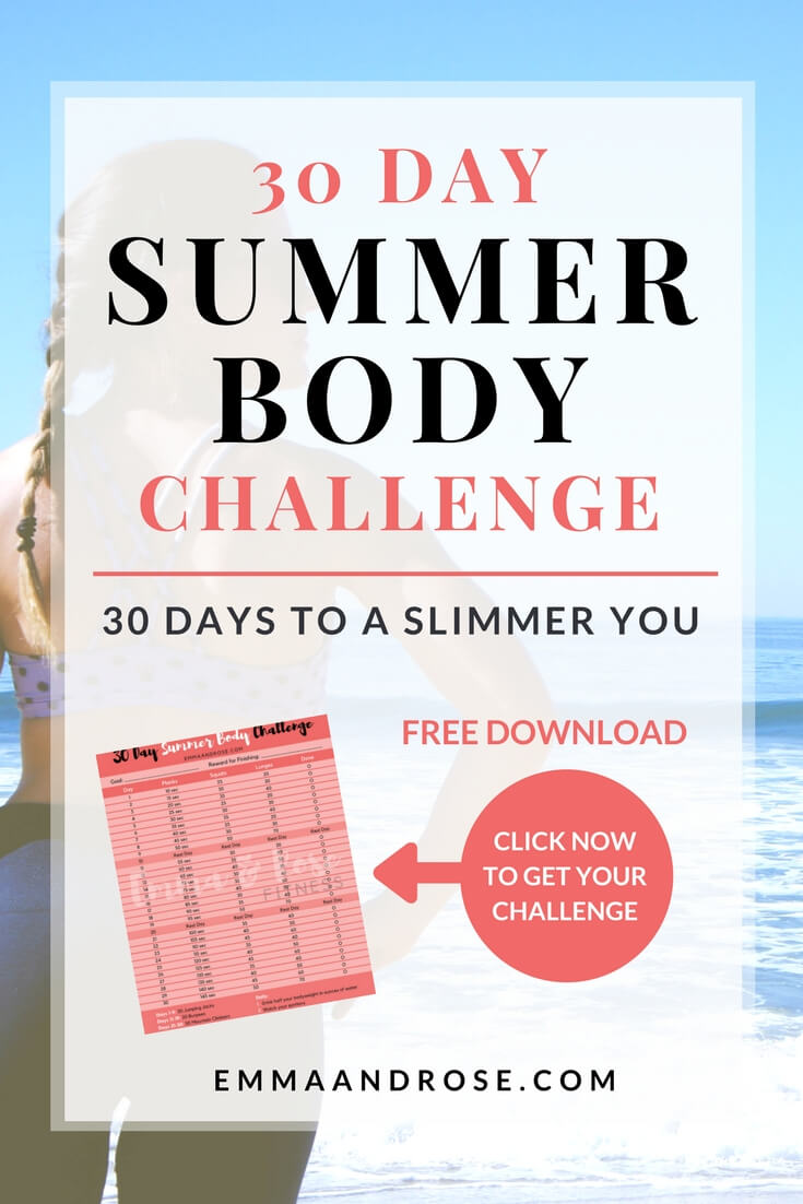 Get ready for summer with the 30 Day Summer Body Challenge. You'll get daily calorie burning and muscle toning exercises, a checklist to track your workouts and tips for clean eating. The challenge requires no equipment and can be done at any fitness level. #fitness #health #workout