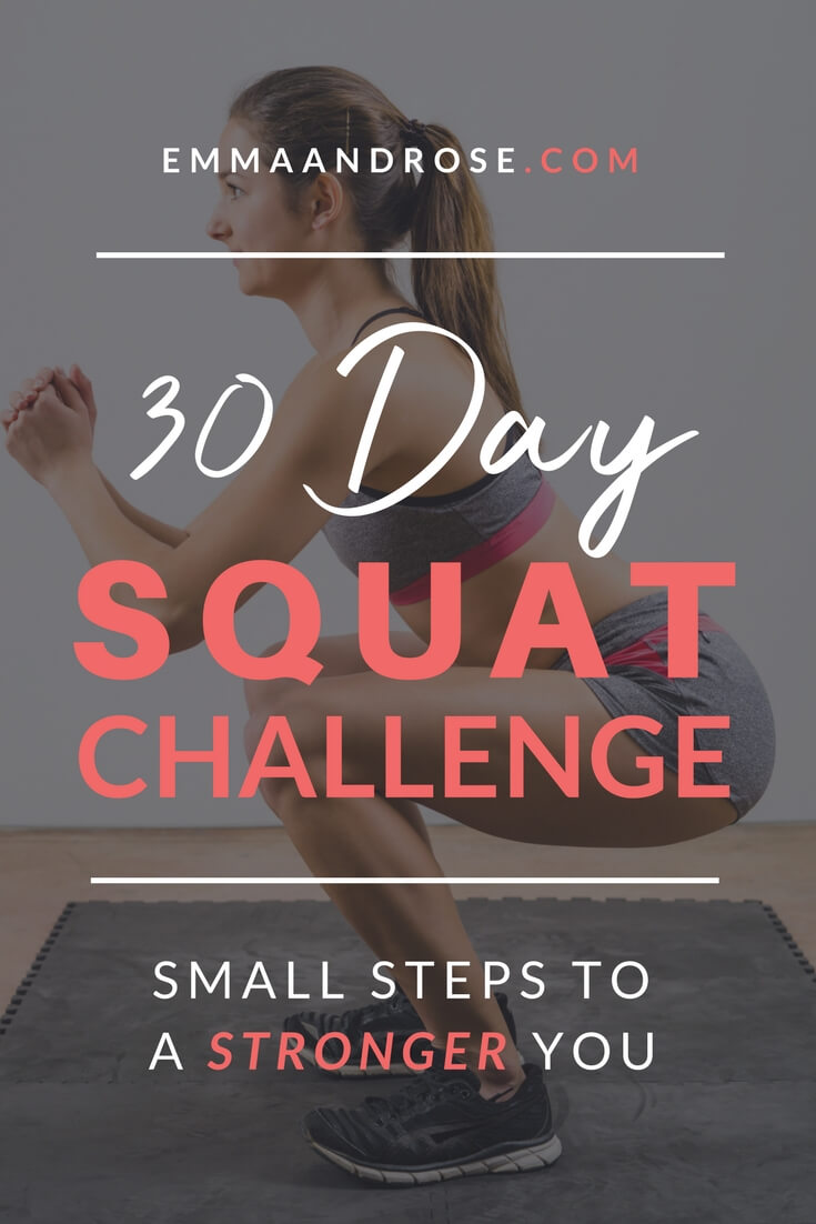 This 30 Day Squat Challenge is going to help you tone and strengthen your legs as well as other muscles in your lower body, including your glutes! The challenge can be done virtually anywhere and requires no equipment. All you do is a simple, but effective compound exercise called the squat.  In this challenge you'll take small steps to a stronger you. #exercise #strength #challenge
