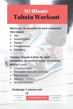 7-Day Workout Plan: 30 Minute Tabata Workout
