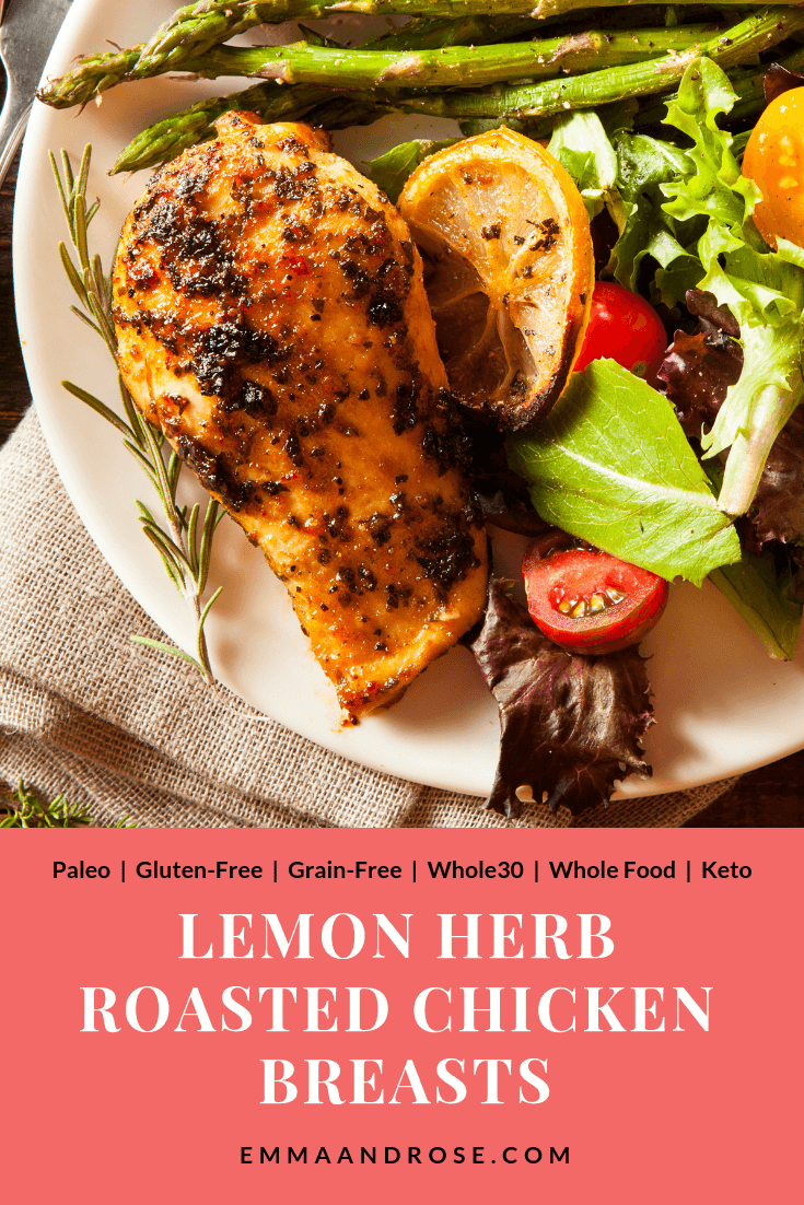 A delicious, healthy Lemon Herb Roasted Chicken recipe packed with lean (metabolism-boosting) protein. Easy to make, this dish is Paleo, gluten-free, grain-free, and works for the Whole30, whole food and Keto diets. #recipe #food #healthy